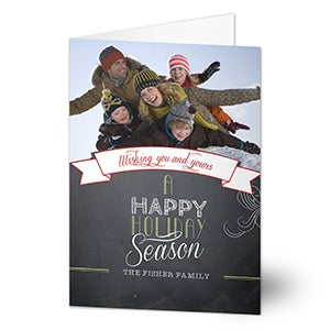 Personalized Photo Christmas Cards - Chalkboard Greetings - 13369