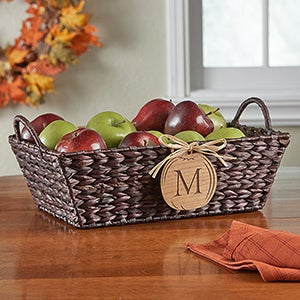Personalized Wicker Storage Basket - Fall Pumpkin - 13388 & Personalized Wicker Storage Basket - Pumpkin Initial Monogram - For ...