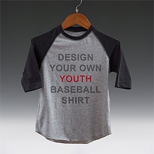 Design your own kids baseball t shirt 3 4 length raglan for Custom raglan baseball shirt