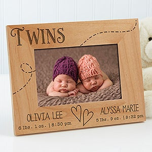 Personalized twins picture frames 4x6 baby gifts personalized picture frames for twins triplets 13441 negle Gallery