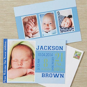 Photo Birth Announcements - Baby Boy's Big Day - 13444