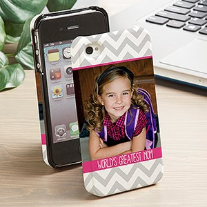 Personalized Photo iPhone 4 Cell Phone Case - Picture Perfect Chevron - 13483