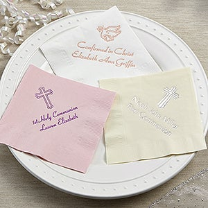 personalized communion confirmation party napkins