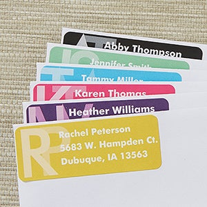 Large Personalized Return Address Labels - Monogram - 13518
