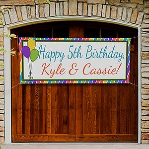 Personalized Birthday Party Banners - Party Stripe - 13553