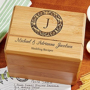 Personalized Wedding Recipe Box Family Monogram