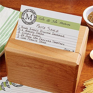 Personalized Family Monogram Recipe Cards Wedding Recipes