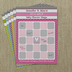 Chevron Baby Shower Personalized Bingo Cards   On Sale Today!
