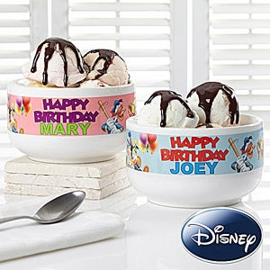 Personalized Disney Birthday Bowls - Mickey Mouse, Donald Duck, Goofy - 13599