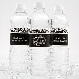 Personalized Wedding Water Bottle Label - Damask Wedding Couple - 13609