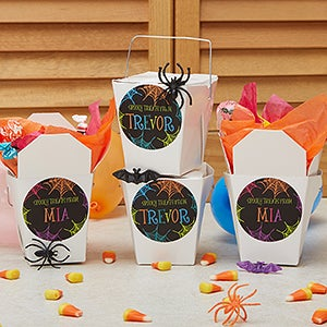 Personalized Halloween Stickers & Treat Boxes - Spider Web - 13653