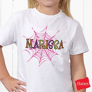 personalized girls halloween shirts spider webs 13655