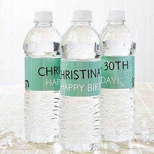 Personalized Water Bottle Labels - Party Time Swirls - 13666