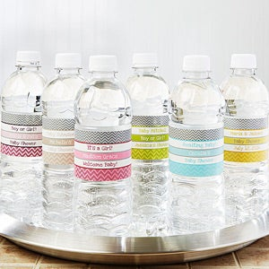 Personalized Water Bottle Labels - Baby Shower Chevron