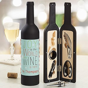 Personalized Christmas Wine Accessory Kit - Joy To The World - 13758