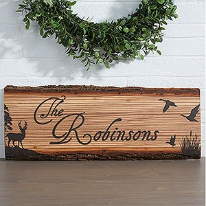 Personalized Rustic Wood Plaque - Hunter's Hideaway - 13761