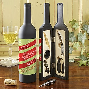 Personalized Wine Accessory Kit - Holiday - Making Spirits Bright - 13781