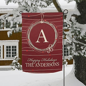 Personalized Holiday Garden Flags - Wreath - 13784