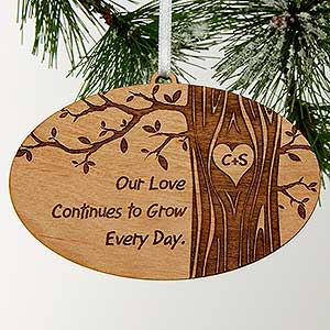 personalized couples christmas ornaments initials carved in love 13790