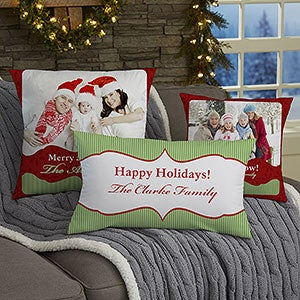 Personalized Christmas Photo Throw Pillow - Classic Holiday - 13791