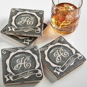 Personalized Drink Coasters - Stone Chalkboard - 13796