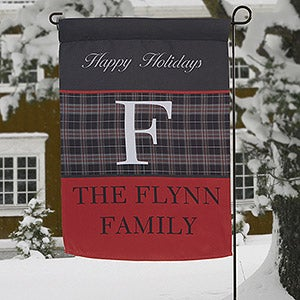 Personalized Garden Flags - Black Plaid Monogram - 13806