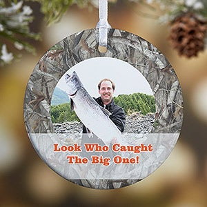 Personalized Photo Christmas Ornaments - Camouflage Hunter - 13809