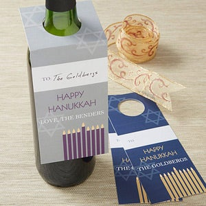 Personalized Hanukkah Wine Bottle Tags - 13816