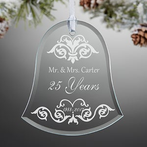 Personalized Anniversary Bell Christmas Ornament - Damask - 13817