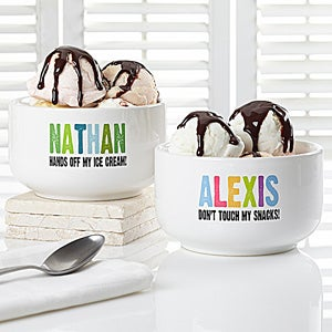 Personalized Snack Bowl for Kids - Hands Off - 13821
