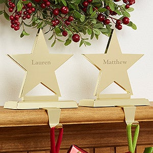 Personalized stocking holders engraved brass star for Brass stocking holders fireplace