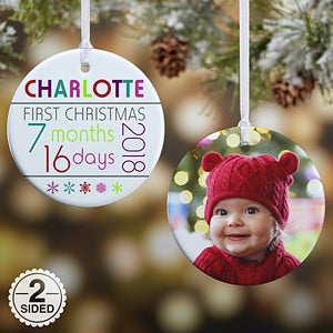 Elegant Babys First Christmas Photo Ornament