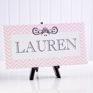 Personalized Kids Canvas Print - Girls Name - Chevron - 13836
