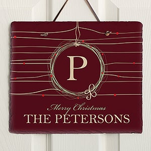 Personalized Holiday Slate Wall Plaque - Christmas Wreath - 13838