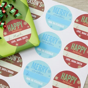 Personalized Christmas Gift Stickers - Season's Greetings