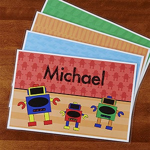 Personalized Placemats for Boys - Cars, Sports, Dinosaurs & Robots - 13848