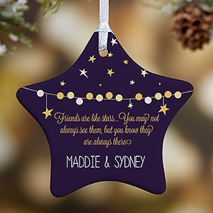 personalized christmas ornaments friends are like stars 1 sided