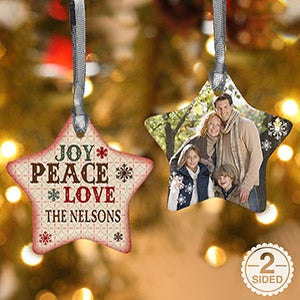 Personalized Star Christmas Ornaments - Joy, Peace, Love - 13851