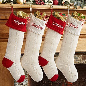 Personalized Christmas Stockings - Classic Cable Knit Stockings - 13853