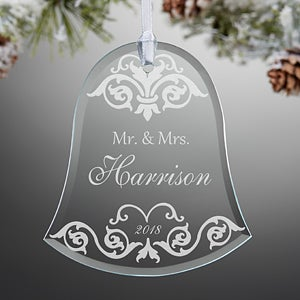 Personalized Wedding Christmas Ornaments - Damask Wedding Bell