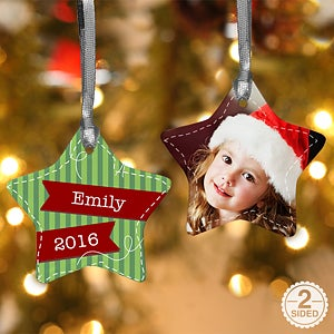 Personalized Christmas Ornaments - Striped Star - 13858