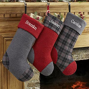 Personalized Christmas Stockings - Northwoods Plaid - 13902