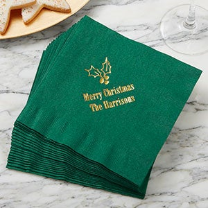 Personalized Christmas Napkins - Happy Holidays - 13909D