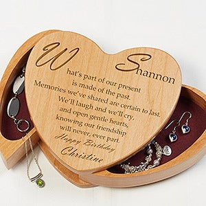 Personalized Heart Shaped Wood Jewelry Box With Friend Poem - 1392