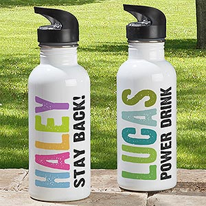 Personalized Kids Water Bottle - Hands Off - 13947