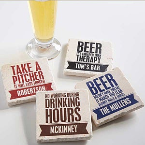 personalized tumbled stone coasters beer quotes. Black Bedroom Furniture Sets. Home Design Ideas