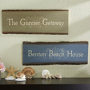Personalized Beach House Sign - Rustic Basswood Plank - 13954