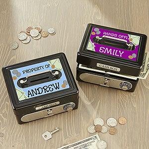 Personalized Kids Cash Box Safe - Black - 13957