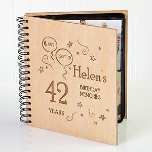 Engraved Wooden Birthday Photo Album - Birthday Memories Design - 1397