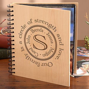 Personalized Wood Photo Albums with Engraved Family Name Initial - 1398